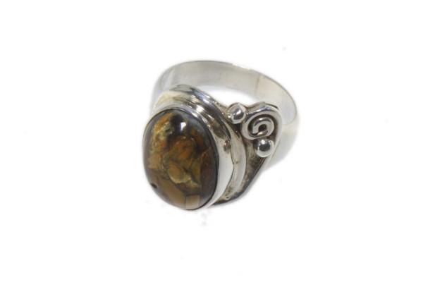 Ring Größe 51 mit Pietersit-Cabochon in Sterlingsilber 925