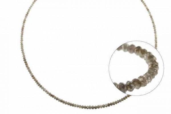 Rondellenstrang facettiert 2-3,2mm/40cm, Diamant braun natur