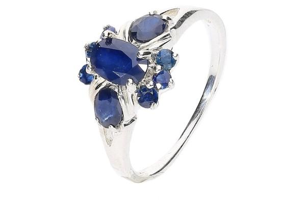 Ring Größe 51 Silber 925, Blumen-Design, blauer Saphir