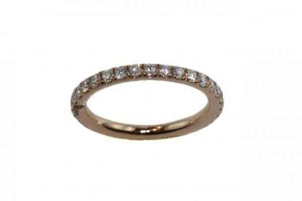 Ring Größe 53, 18k Roségold, 32 Brillanten 1,01ct TW-vsi, Diamant