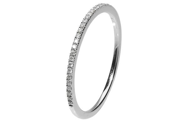 Ring Größe 53, 14K Weißgold, 25 Brillanten 0,08ct.TW-vsi