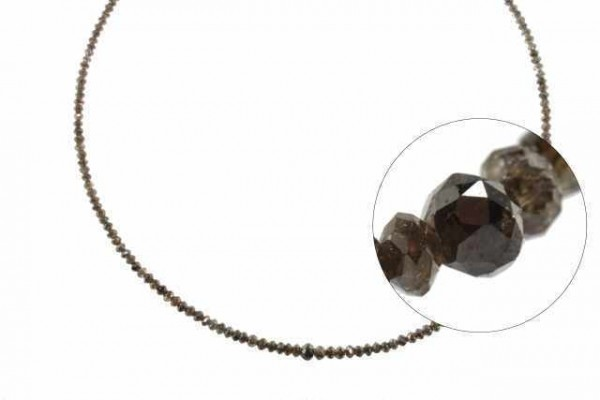 Rondellenstrang facettiert 3,3-4,3mm/40cm, Diamant dunkelbraun natur