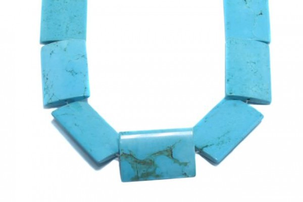 Rechteckstrang 25x34mm/40cm, Magnesit blau gefärbt