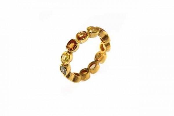 Ring Größe 58, 18K Gelbgold mit 13 facettierten Ovalen in GG 18K, Saphir multi