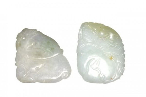 Schnitzerei 40-50mm, Burma Jade grün/lavendel
