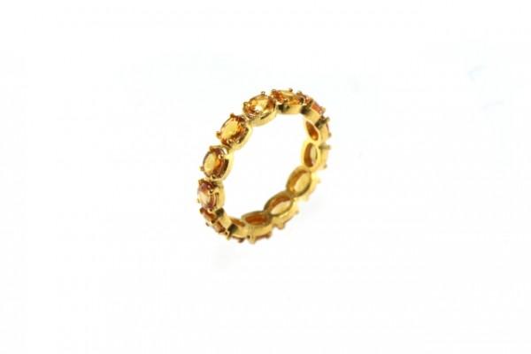 Ring Größe 53, 18K Gelbgold mit 13 facettierten orangen Saphir-Ovalen