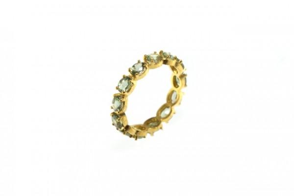 Ring Größe 53, 18K Gelbgold mit 13 facettierten grünen Saphir-Ovalen