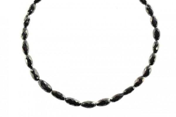 Olivenstrang facettiert 3,5x6-4,4x8,5mm/42cm, schwarzer Diamant AA