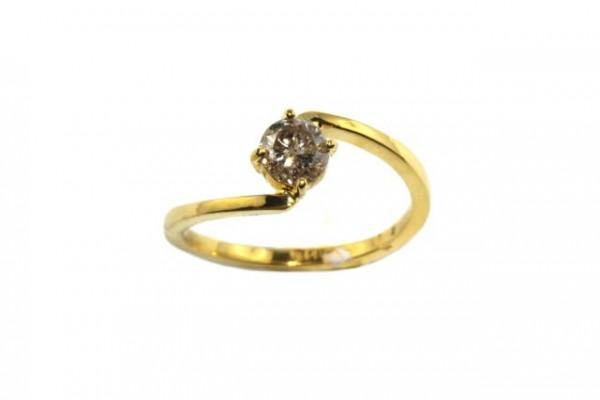 Ring Größe 57, 18K Gelbgold mit Brillant 0,52ct