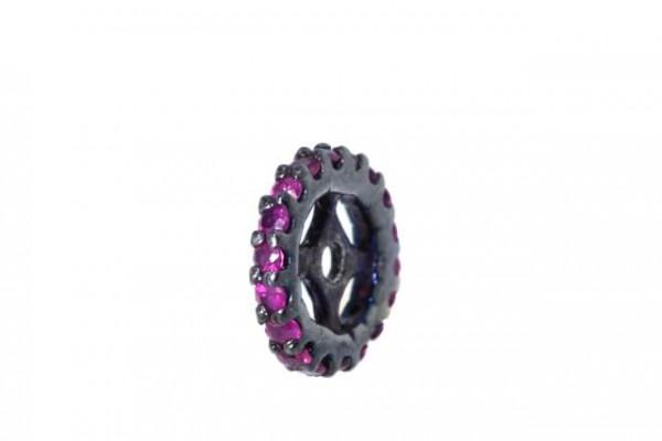 Rondelle 9,3mm mit fac. Rubinen, AG 925 schwarz rhodiniert