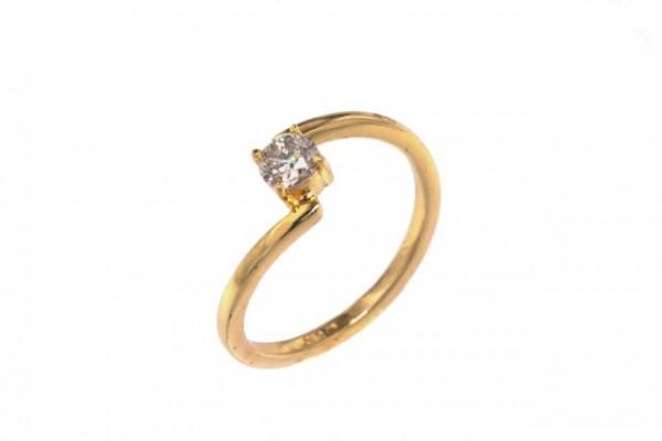 Ring Größe 56, 18K Gelbgold mit Brillant 0,37ct