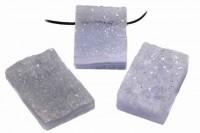 Rechteck-Anhänger mit kristalliner Oberfläche mit Bohrung, 30x40mm, Chalcedon AA