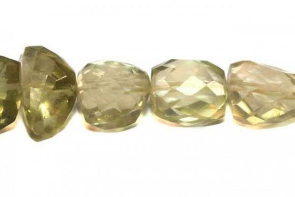 Freeformstrang facettiert 8-13mm/40cm, Prasiolith (Lemon-Citrin)