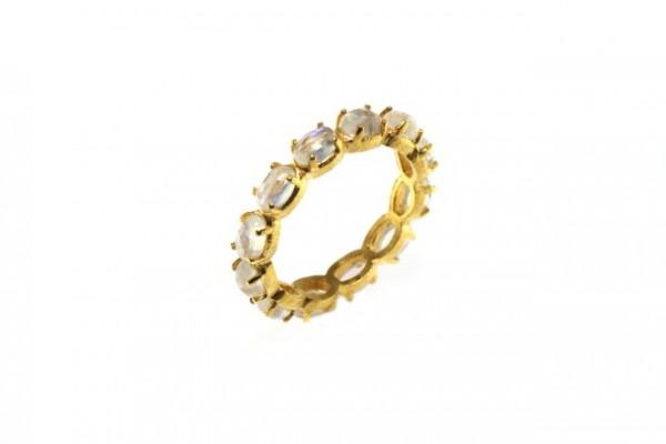 Ring Größe 54, 18K Gelbgold mit 11 facettierten Labradorit-Ovalen