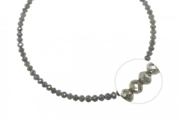Buttonstrang facettiert 2,7-4mm/42cm, Diamant silber-grau
