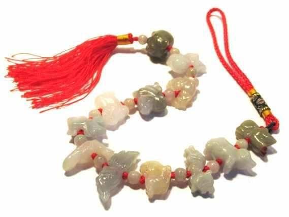 Horoskop-Tiere 12er Set auf Schnur, Jade Burma