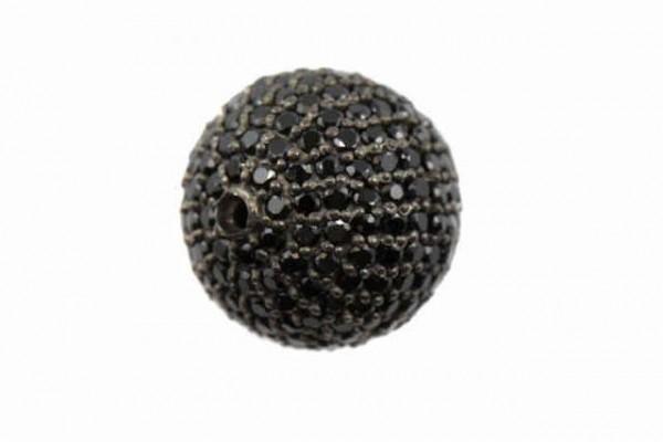 15,5mm Kugel, facettierte schwarze Spinelle auf AG 925