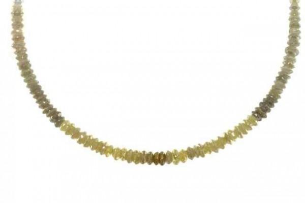 Linsenstrang facettiert 3,5-4,1mm/42cm, Diamant grau und braun