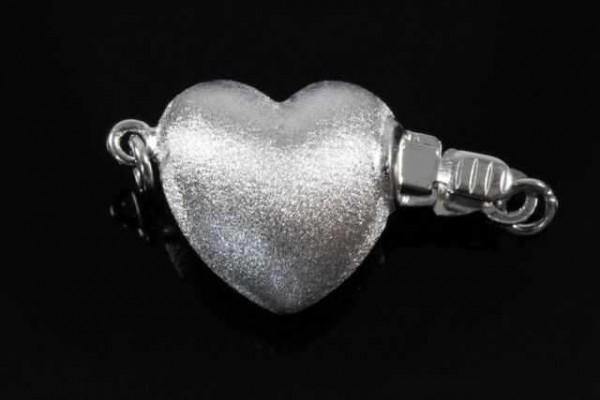 Herz-Schließe, AG 925 matt rhodiniert
