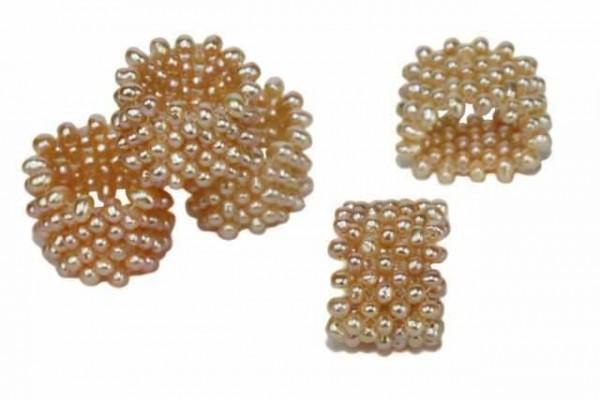 Ring elastisch geflochten 17mm, Süßwasserzuchtperlen lachs