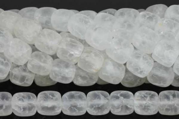 Barrelstrang 12x12mm/40cm, gecrashter Bergkristall matt