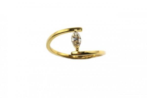 Ring Größe 53, 18K Gelbgold mit Diamant-Navette 0,20ct