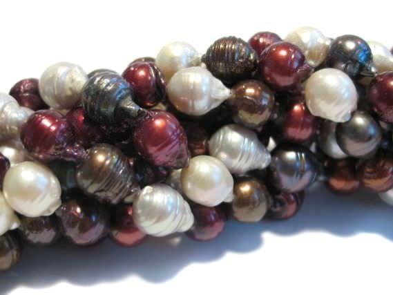 Perlenstrang 10mm/40cm, Süßwasser-Zuchtperle rot-bronze-weiß-grau