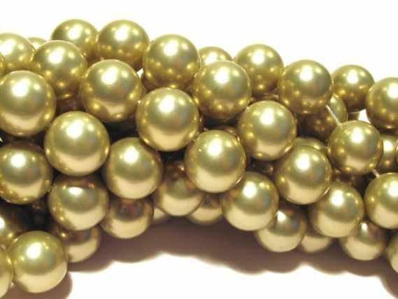 Kugelstrang 14mm/40cm, Shellbased Perle gold