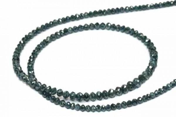 Buttonstrang facettiert 2,8-3mm/42cm, Diamant blau/grün behandelt