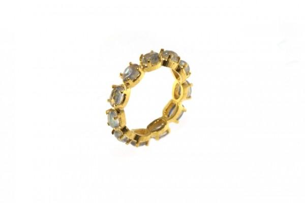 Ring Größe 55, 18K Gelbgold mit 11 facettierten Labradorit-Ovalen