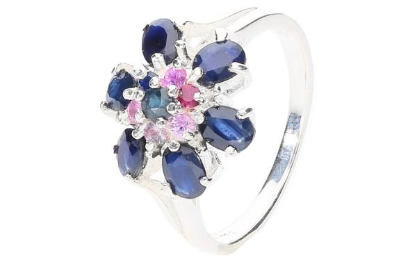 Ring Größe 52 Silber 925, Blumen-Design, blauer+ roter Saphir