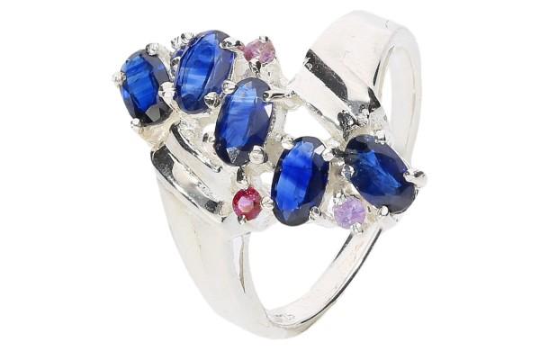 Ring Größe 51 in Sterlingsilber 925 mit 5 facettierten Ovalen, blauer Saphir