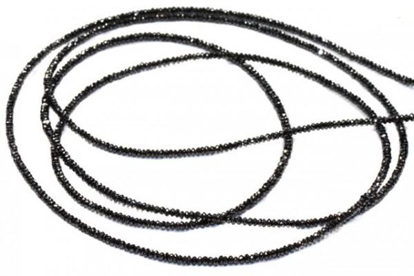 Linsenstrang facettiert 2,3mm/103cm, schwarzer Diamant A