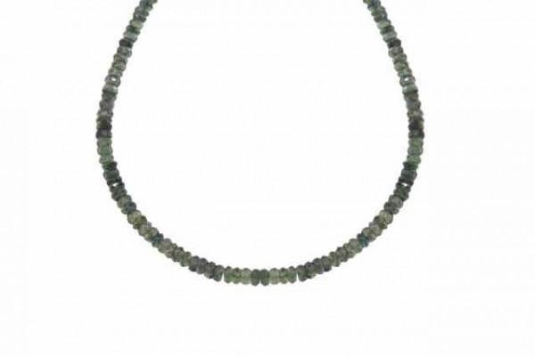 Buttonstrang facettiert 3-4,3mm/45cm, Saphir grün
