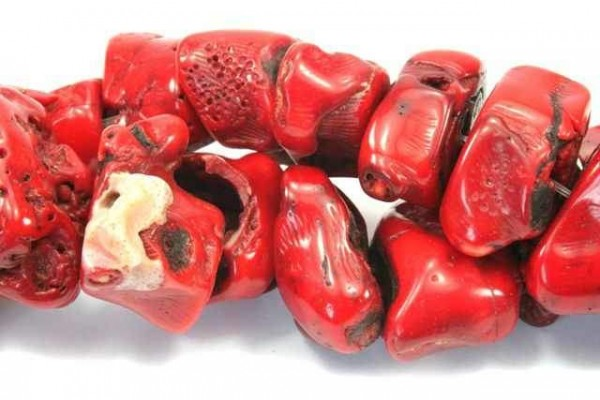 Nuggetstrang 20-28mm, Koralle rot gefärbt