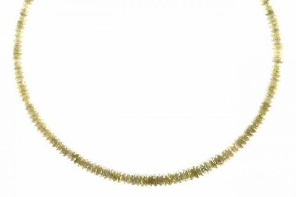 Linsenstrang facettiert 2,3-3,6mm/40cm, Diamant graugelb