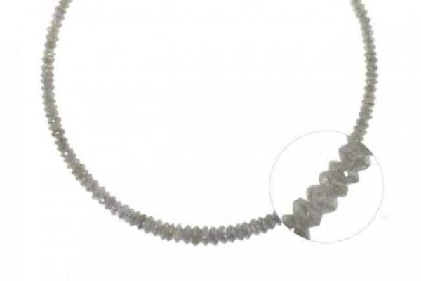 Linsenstrang facettiert 2,4-4,5mm/41cm, Diamant silbergrau