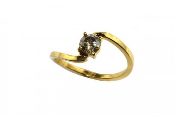Ring Größe 58, 18K Gelbgold mit Brillant 0,60ct
