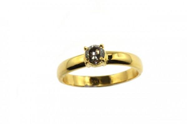 Ring Größe 57, 18K Gelbgold mit Brillant 0,38ct