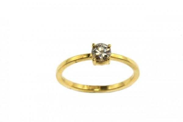 Ring Größe 57, 18K Gelbgold mit Brillant 0,47ct