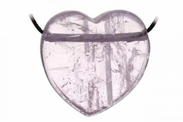 Herz mit 2,5mm Querbohrung, 37x37mm, Kunzit AA
