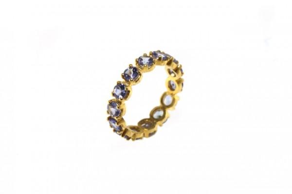 Ring Größe 54, 18 K Gelbgold mit 14 facettierten runden 4mm Tansaniten