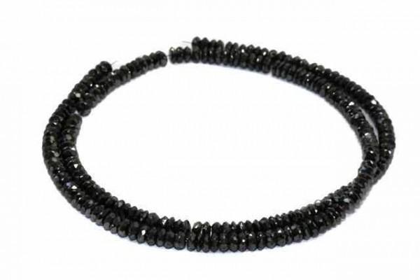 Linsenstrang facettiert 4,8-7,5mm/40cm, schwarzer Diamant A