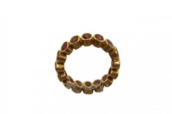 Ring Größe 56, 18K Gelbgold mit 16 facettierten orangen Saphir-Ovalen