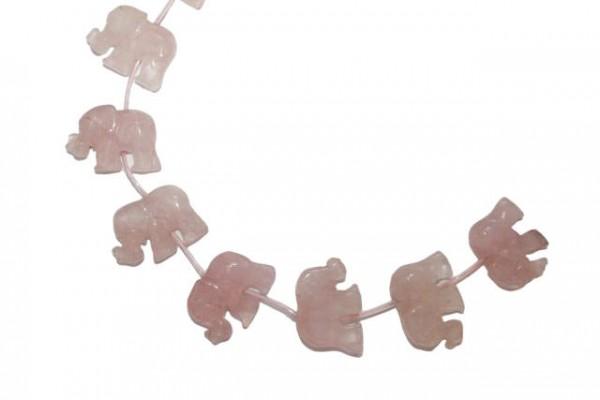 Elefantenstrang ca. 23x33mm, Rosenquarz