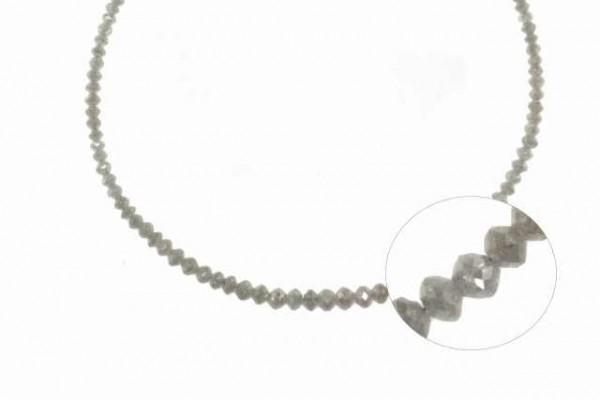 Buttonstrang facettiert 1,6-3,6mm/42cm , Diamant silber-grau