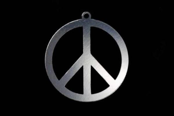 Peace-Zeichen 25mm aus AG 925 rhodiniert