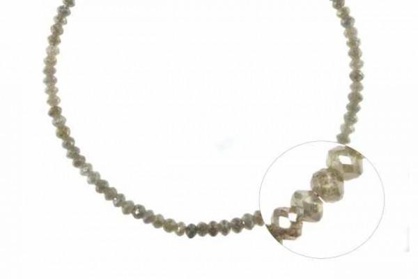 Buttonstrang facettiert 3,1-3,7mm/42cm, Diamant silber-beige