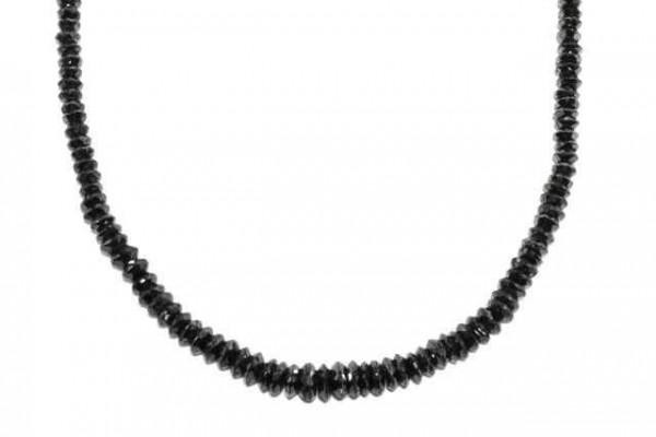 Linsenstrang facettiert 5mm/42cm, schwarzer Diamant A