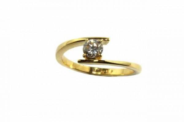 Ring Größe 57, 18K Gelbgold mit Brillant 0,37ct